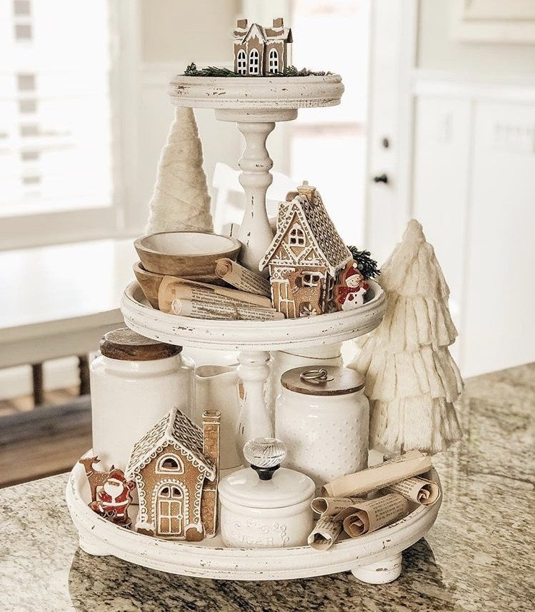 DIY Christmas tiered tray